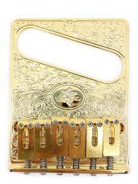 Gotoh GTC-ART-02G Engraved Tele Style Bridge - Gold