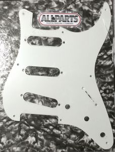 Allparts PG-0550-025 8-Hole Strat Style Pickguard - White 1-Ply