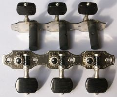 Rubner 9210-EH Deluxe Classical Guitar Tuners Nickel with Ebony Buttons