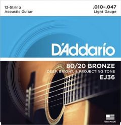 D'Addario EJ36 12-String Acoustic Guitar Strings 10-47