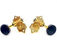 Gotoh SEP780-B5G Slotted Head Tuners 3+3 Gold with Black Buttons
