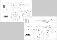 Ukulele Plans Set of 2 - Soprano & Concert